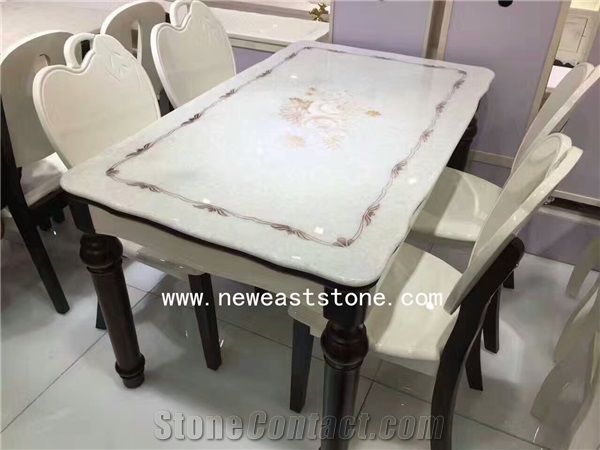 Crystal White Square Marble Top Dining Table Tops Set Wholesale From China Stonecontact Com