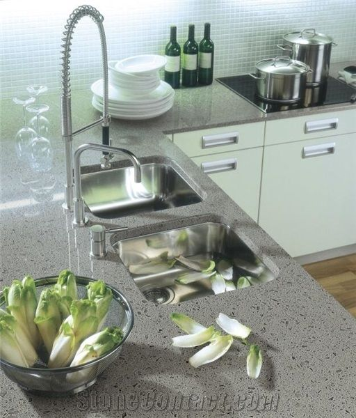 Diamond Grey Artificial Quartz Kitchen Countertop Prices ...