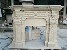 Beige Limestone Fireplace Mantels Hearth with Engraved Sculptures