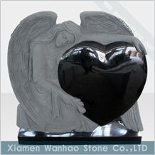 Black Granite Tombstone Angel Monument,Headstone with Sculptures