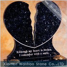 Black Granite Tombstone Custom Monument Engraved Marble Memorial