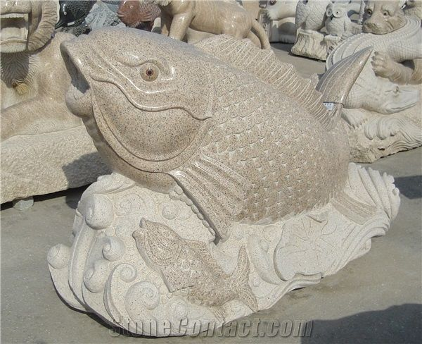 China Factory Granite Fish Sculptures Garden Stone Carvings