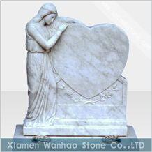 China Marble Tombstone Angel Monument Custom Heart Memorials