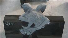 China Shanxi Black Granite Angel Monument Tombstone Engraved Memorials