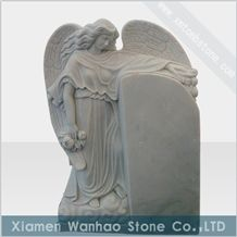 China White Marble Tombstone,Angel Monument,Custom Engraved Memorials