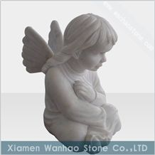 China White Marble Tombstone, Angel Monument Funeral Sculptures