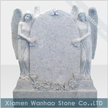 China White Marble Tombstone Engraved Monument Angel Family Memorials