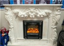 Chinese White Marble Fireplace Mantels with Engraved Sculptures