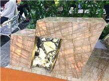 Van Gogh Yellow Golden Marble Babylon Gold Slabs&Tiles Project