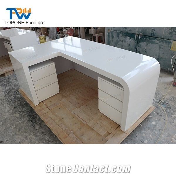 L Shaped Artificial Marble White Office Furniture Office Table Design