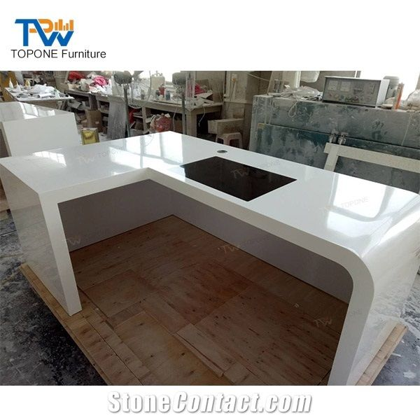 L Shaped Modern Design Acrylic Solid Surface Office Table ...
