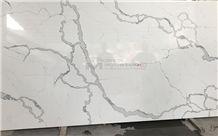 Engineered Calacatta Quartz Stone Slab with Natural Veins