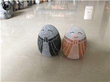 Absolute Beige Marble,Egg Type Jizo Sculpture,Hancraft Stone Artware,