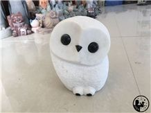 Ariston White Marble Owl Handcraft,Art Work
