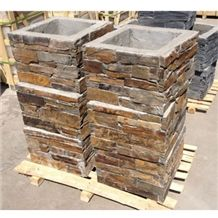 Rusty Slate Wall Stone Columns Stacked Blocks Cultured Stone Veneers
