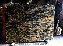Persian Portoro Marble Slabs & Tiles, Iran Black Marble