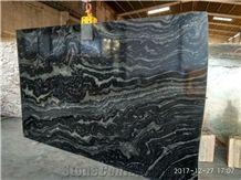 Black Fantasy Granite Slabs & Tiles, India Black Granite