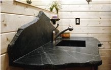 Black Minas Soapstone Bathroom Top Custom Design