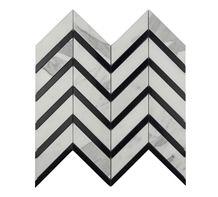 White and Black Marble Mosaic Tiles,Chevron,Kitchen Back Splash,Leiyan