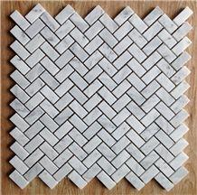 White Marble Moasaic Tiles,Herringbone,Kitchen Back Splash,Wall Tiles
