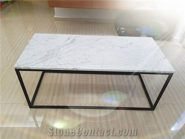 Bianco Carrarra Marble Side Table With 304g Stainless Steel