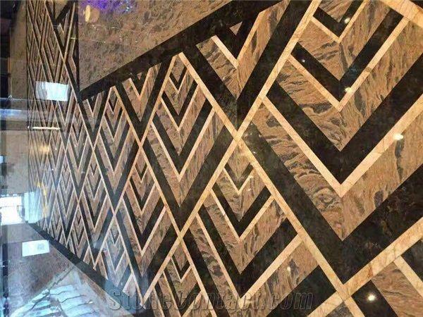 Apollo Grey Forest Wood Marble Waterjet Medallion Tile Floor ...