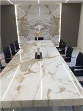 Custom Cut Marble Bar Top Calacatta Gold Commercial Countertops