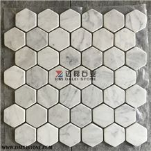 Marble Hexagon Mosaic Basketweave Mosaice for Kitchen Wall Pool Floor