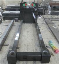 Black Granite Bench Gravestone Monument Memorial Slab Carved Roses