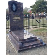 Brown Granite Bench Memorial Monument with Pohot Ectching