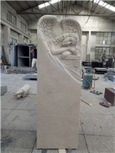 Ocean Beige Angel Carving Monuments China Professional Manufactory