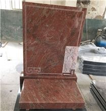 Southeast Asia Simple Type Indian Red Granite Gravestone