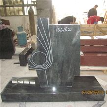 Special Shape Tropical Green Granite Memorial Monument with Engraving