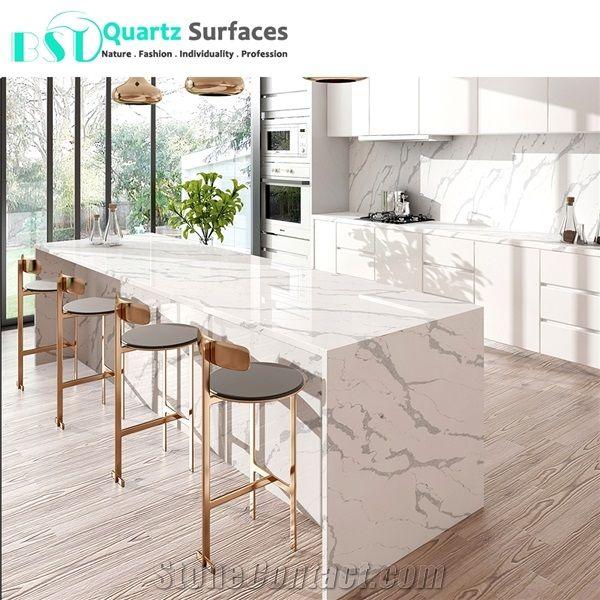 Best Calacatta Statuario White Quartz Stone Bench Tops From