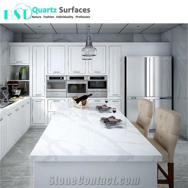 Light Grey Veins Calacatta White Quartz Stone For Decoration Wall