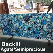 Backlit Semiprecious Stone,Blue Onyx Agate Tile,Natural Gemstone Slab