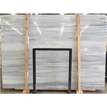 Honed Ice Age China Factory White Marble Price with Grey Viens