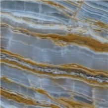 Natural Transparent Stone Polished Slab Gold Veins Blue Onyx Marble