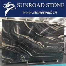 Black Wood Vein Marble, Brown Silver Wave, Black Forest Marble Slabs