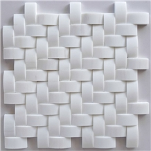 Bathroom Wall 3d Bread White Marble Mosaic Tiles