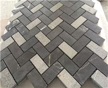 Black Marquina Marble Mosaic Herringbone Shape