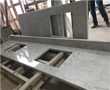 White Carrara Marble Kitchen Countertop Customized