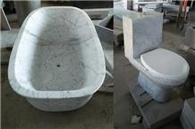 Carrara White Bath Tub & Toilet Sets