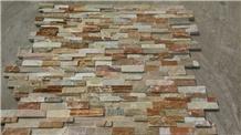 China Apricot Slate Clay Brick Cladding Wall Stone