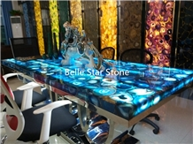 Blue Agate Gemstone Top Backlit Semiprecious Stone
