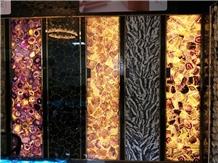 Purple Backlit Semiprecious Stone Wall Slabs/Tiles