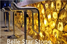Yellow Backlit Agate Semiprecious Stone Counter