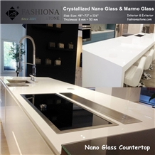 White Crystallized Stone Kitchen Countertops