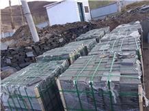 Mongolia Black Basalt Tiles Garden Floor Project