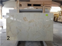 Semiprecious White Ice Flake Jade Onyx-Gem Stone Slab